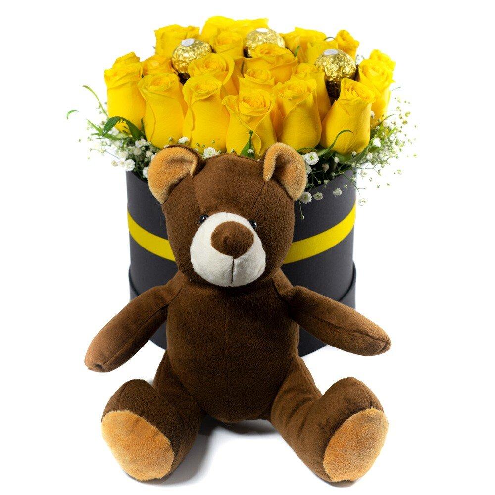 Arreglo Rosas Amarillas Chocolates y Peluche