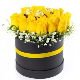 Arreglo Rosas Amarillas y Chocolates