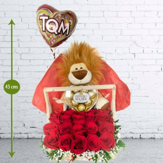 Caja Rosas Peluche Leo