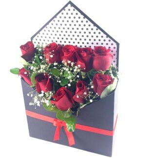 Caja Rosas Nota de Amor
