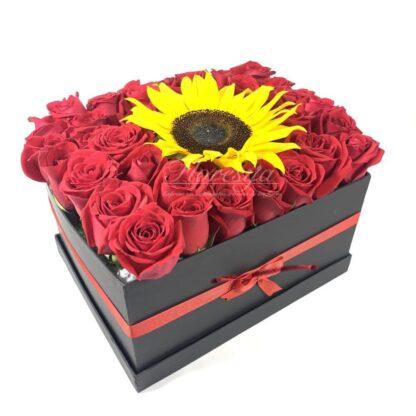 Caja Rosas Girasoles Bella